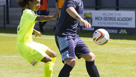Danny Watson hit his first St Neots Town goal in dramatic style. Picture: CLAIRE HOWES