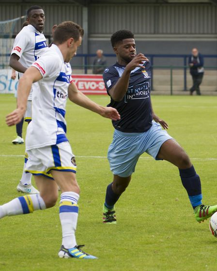 New signing Kyran Wiltshire in action for St Neots Town against Farnborough last Saturday. Picture: