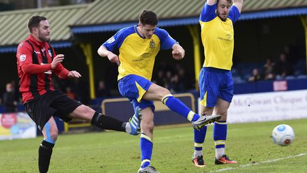 Tom Gardiner drew first blood for St Albans City against Chelmsford. Picture: BOB WALKLEY