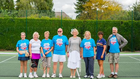District councillor Phillipa Hart with the Meldreth Tennis Club Committee. Picture: Luke Duffell