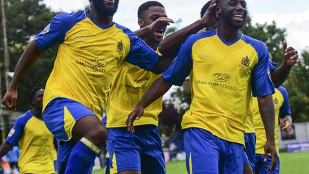 St Albans City celebrate Rhys Murrell-Williamson's first goal for the club. Picture: BOB WALKLEY