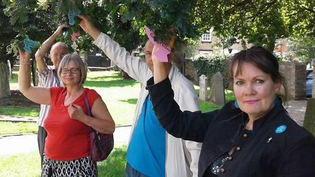 Christine Green and the peace campaigners at St Mary's Church, in St Neots.