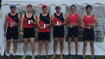 The successful St Ives rowers are, from the left, Paul Ashmore, Pip Woodford, Tony Bennett, Gary Gil