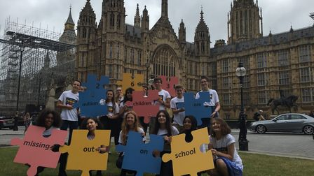 Champions outside the Houses of Parliament. Lucy (third from the right) and Lulu (second from the ri
