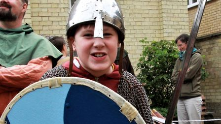 Ewan Brett from Royston taking part in the Viking fun. Picture: Clive Porter