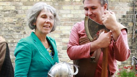 Lynn Ross with Stuart Marshall at Royston's district museum's Viking Day 2017. Picture: Clive Porter