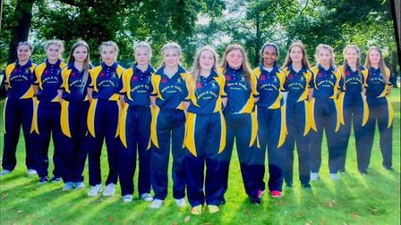 The Hunts Under 15 Girls squad which enjoyed a tour at Malvern.