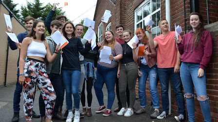 Beaumont School pupils celebrating their A-Level results