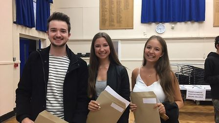 Left to right: Elliott Payne (going to Lincoln; Creative Advertising), Hannah Jones (Sussex; Maths)