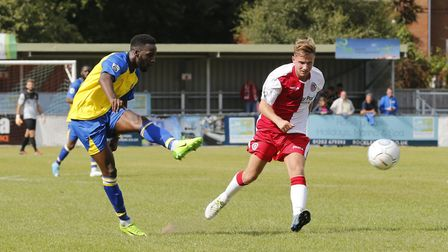 St Albans Rhys Murrell-Williamson fires the ball towards goal (pic Leigh Page)