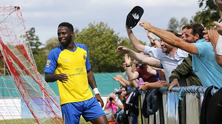 St Albans Rhys Murrell-Williamson celebrates scoring the winning goal at Poole (pic Leigh Page)