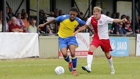 St Albans Kieran Monlouis in action against Poole Town (pic Leigh Page)