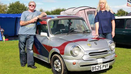 Phil and Deb Woolston from Lowestoft with their modified 1984 Silver Jubillee Anniversary model. Pic