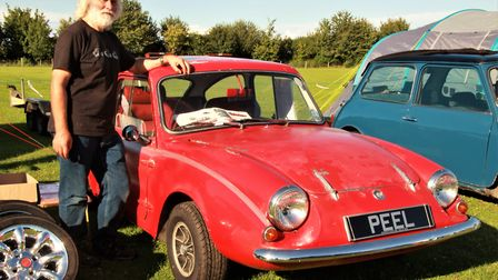 John Fisher from Lincolnshire with his 1967 Peel Sport car, based on a 1964 Mini. Picture: Clive Po