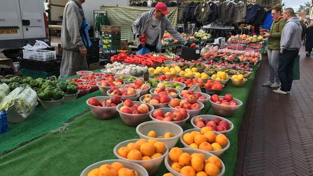 One of the stalls at Huntingdon's weekly market