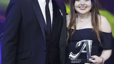 Beth Collins recieving her accolade from awards presenter Stephen Mulhern