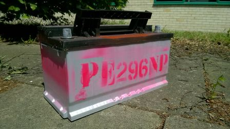 Farmers are asked to mark their batteries with pink paint and their postcode. Picture: Cambridgeshir