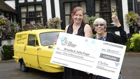 Brenda Page and her daughter Julie celebrate their win of £1M on the Lotto Millionaire Raffle draw (