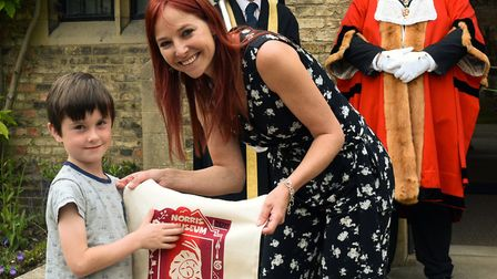 Competition winner Noah Austin, 6, with TV presenter Alice Roberts