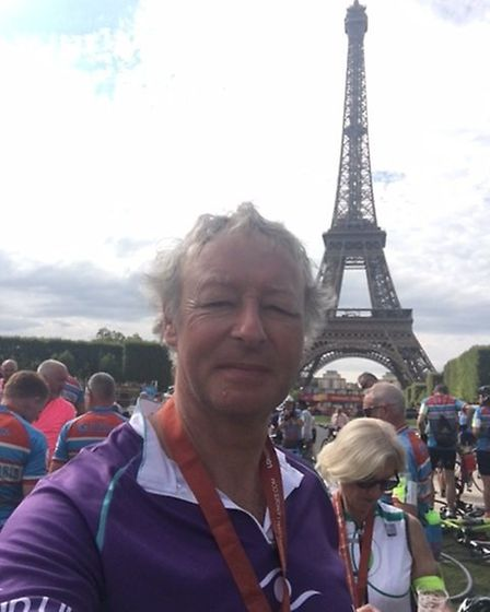 Chris at the Eiffel Tower finish.