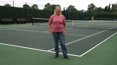 Christine Knight at the newly revamped Meldreth tennis courts.