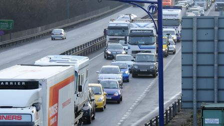 There are lengthy delays on the A14.