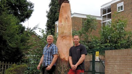Terry Buxton and Gary Ashley with their tree carving.