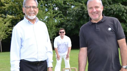 Playing at the cricket match: The mayor of St Albans, Cllr Mohammad Iqbal Zia, and the Mayor of Neve
