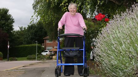 Dr Mavis Hamilton fell when her walking frame wheel was caught on the uneven pavement on her road. P