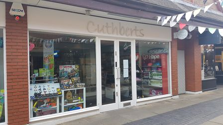 A wide angle shot of the front of Cuthberts Toys store in Christopher Place, St Slbans. Photo: FRASE
