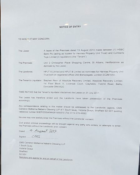 A notice posted in the window of Cuthberts Toys. Photo: FRASER WHIELDON