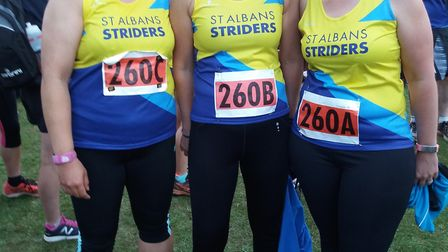 St Albans Striders' Wai Meng Au-Yeong, Linda Cassidy and Michelle Martin at the Fairlands Valley Rel