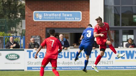 Liam McDevitt leaps high during his St Neots debut. Picture: CLAIRE HOWES