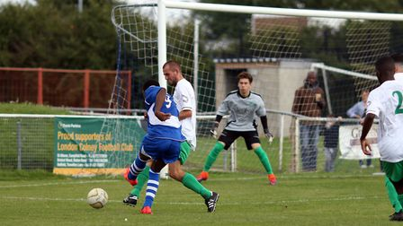Kembo Smith scored the go-ahead goal as London Colney beat rivals Colney Heath. Picture: KEVIN LINES