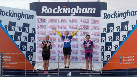 Verulam ReallyMoving's Christine Pout on the podium at Rockingham. Picture: JUDITH PARRY