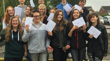 Meridian students thrilled with their A-level results, which they opened this morning.