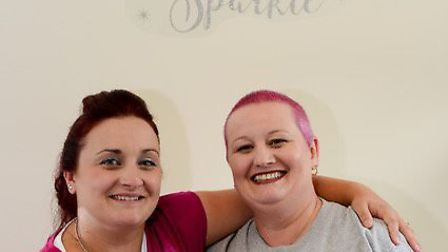Lisa Oliver after her Brave the Shave challenge with friend Jodie Wright. Picture: Paul Grace Photog