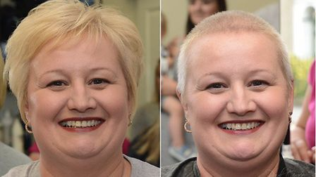 Lisa Oliver before and after the brave the shave challenge. Picture: Paul Grace Photography