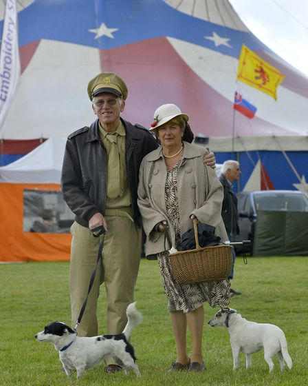 Alan and Barbara Beal with their dogs.