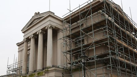 Scaffolding around the Old Town Hall. Photo: DANNY LOO