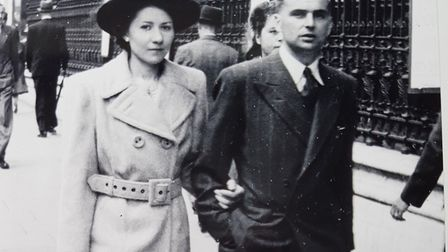 Jack Blanchflower and his wife, in 1945