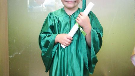 Freddie Armstrong Fisk graduates from Nuffy Bear nursery in St Albans.