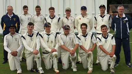 Hunts Under 25s, ahead of their win against Suffolk, are back row, left to right, Russell Marsh (tea