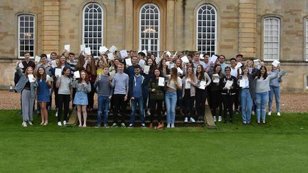 Kimbolton School pupils celebrating their A-level results.