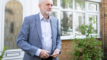 Labour leader Jeremy Corbyn leaves his North London home. (Photo by Luke Dray/Getty Images)
