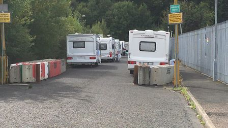 A group of travellers have parked in Graham Close in the Griffiths Way retail park, after being move