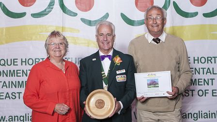 Members of the St Ives park and ride team collect their award.