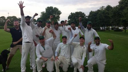 Greenwood Park celebrate their promorion from Saracens Hertfordshire Cricket League Division Eight B