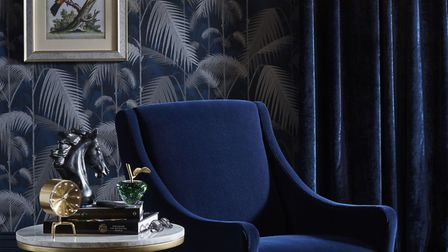 Midnight Tropics: John Lewis's interpretation of the look. JL Cole & Son palm wallpaper, jungle, ink