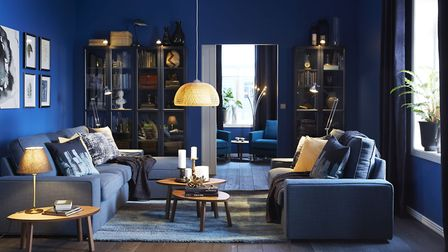 Midnight Tropics: Stockholm 2017 two-seat sofa, £895; pouffe, £85; Billy/Oxberg bookcase, blue, £190